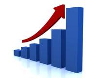 Diagrama do crescimento do negócio com seta vermelha Foto de Stock Royalty Free