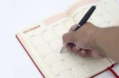 Diagrama en el calendario Foto de archivo