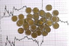 Diagrama en informe financiero, monedas del negocio Imágenes de archivo libres de regalías