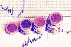 Diagrama en informe financiero, monedas del negocio Foto de archivo