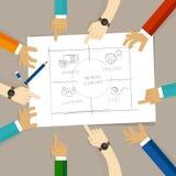 Diagrama equilibrado do cartão da contagem na medida do desenho do planeamento do negócio discuta a mão do desenho do plano no pa ilustração do vetor