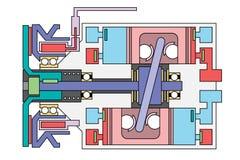 Diagrama esquemático auto del compresor del acondicionador de aire Imagen de archivo