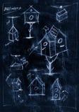 Diagrama feito a mão azul de como construir um aviário ilustração do vetor