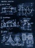 Diagrama feito a mão azul de uma comunicação em mudança com o século ilustração stock