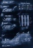 Diagrama feito a mão azul do pequeno trenó do procedimento de testes ilustração royalty free