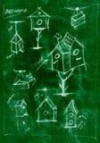Diagrama feito a mão verde de como construir um aviário ilustração stock