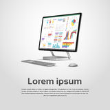 Diagrama financeiro Infographic do gráfico do monitor de Logo Modern Computer Workstation Icon do Desktop Fotos de Stock