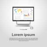 Diagrama financeiro Infographic do gráfico do monitor de Logo Modern Computer Workstation Icon do Desktop Fotografia de Stock Royalty Free
