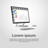 Diagrama financiero Infographic del gráfico del monitor de escritorio de Logo Modern Computer Workstation Icon Fotografía de archivo