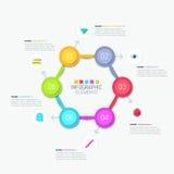 Diagrama hexagonal con los elementos multicolores Fotos de archivo libres de regalías