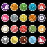 Diagrama i wykresu ikony z długim cieniem Obraz Stock