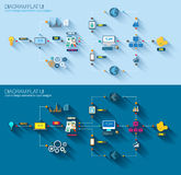 Diagrama liso do estilo, Infographic e ícone de UI Fotografia de Stock