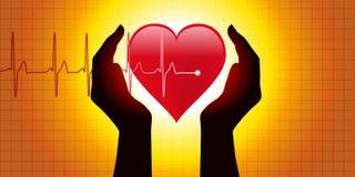 Diagrama médico, apresentando duas mãos que protege um coração na frente de um gráfico que mostra a pressão sanguínea ilustração do vetor