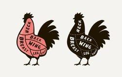 Diagrama przewdonik dla tnącego mięsnego koguta, masarka sklep Kurczaka wektoru ilustracja ilustracji