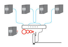 Diagrama seccional de la red de ordenadores Imagen de archivo libre de regalías