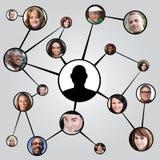 Diagrama social de los amigos del establecimiento de una red Imagen de archivo libre de regalías