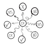 Diagrama u organigrama dibujado mano Foto de archivo