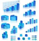 Diagramas azules fijados Fotografía de archivo libre de regalías