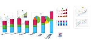 diagramas 3D financeiros com crescimento mensal ilustração stock