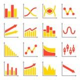 Diagramas e ícones dos gráficos ajustados Vetor Imagens de Stock Royalty Free
