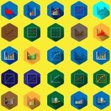 Diagramas e gráficos do negócio no projeto liso com sombras longas Foto de Stock