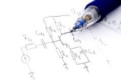 Diagramas esquemáticos eletrônicos Fotografia de Stock