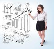 Diagramas jovenes del gráfico de la mujer de negocios en whiteboard Foto de archivo libre de regalías