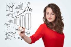 Diagramas novos do desenho da mulher de negócio no whiteboard ilustração do vetor