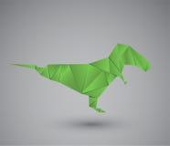 Diagramet av en dinosaurie i origami utformar isolerat på grå bakgrund också vektor för coreldrawillustration Royaltyfri Foto