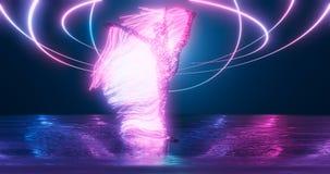 Diagramet av en gymnast från punkter av utgående strålar på etappen i ett ljust neonglöd geometrisk bakgrund 3d för affärspres vektor illustrationer