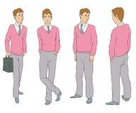 Diagramet av en man i fyra vinklar royaltyfri illustrationer