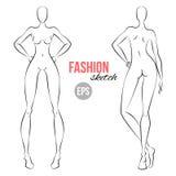 Diagramet mode för kvinna` s skissar Mall för formgivare av kläder Olikt poserar också vektor för coreldrawillustration royaltyfri illustrationer