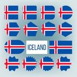Diagramet symboler f?r den Island flaggasamlingen st?llde in vektorn royaltyfri illustrationer