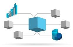Diagramm-Abbildungauslegung des Kastens 3d Stockfotos