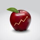 Diagramm auf Apfelhaut Stockfoto
