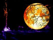 Diagramm auf dem der Mondrückseite des vollen Bluts des bewölkten Himmels trockenen Baum Stockfotos