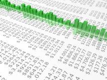 Diagramm auf Dollarreporthintergrund Lizenzfreie Stockfotos
