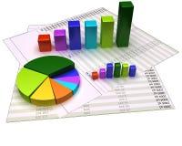 Diagramm auf Finanzdateien und auf Weiß getrennt Lizenzfreies Stockfoto
