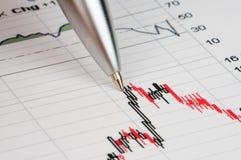 Diagramm auf Finanzreport/Zeitschrift Lizenzfreies Stockfoto