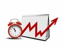 Diagramm auf Tischplattenkalender und Wecker stockfoto