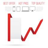 Diagramm del producto del negocio. Marco de papel con la línea roja Imagenes de archivo