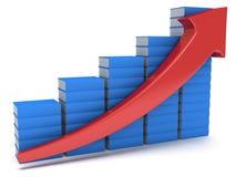 Diagramm der blauen Bücher mit rotem Pfeil Stockbilder