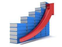 Diagramm der blauen Bücher mit rotem Pfeil Stockbild
