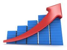 Diagramm der blauen Bücher mit rotem Pfeil Stockfotografie