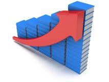 Diagramm der blauen Bücher mit rotem Pfeil Lizenzfreies Stockfoto