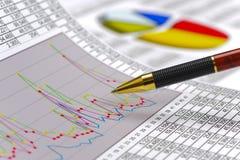 Diagramm der Finanzierung und der Börse Stockfotos