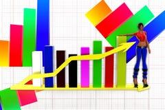 Diagramm der Frauen 3d und Pfeilstatikillustration Lizenzfreie Stockfotografie