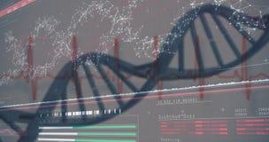 Diagramm der Gene 3D auf dunkelrotem Hintergrund stockbilder