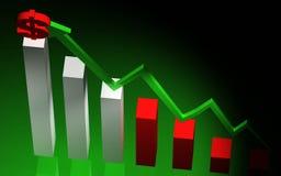 Diagramm der Zunahme 3d und roter Dollar Stockfotografie