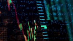 Diagramm des elektronischen Diagramms der Börseschwankungen auf dem Schirm, die Indexstatistiken lizenzfreie abbildung